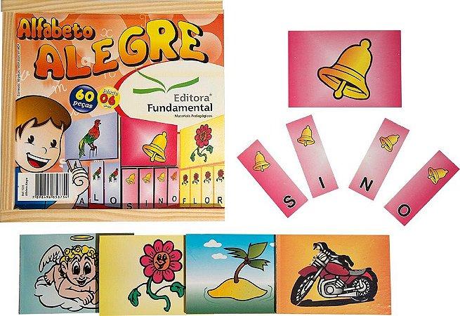 Jogo Educativo Alfabeto Alegre 60 Peças Em MDF - FUNDAMENTAL