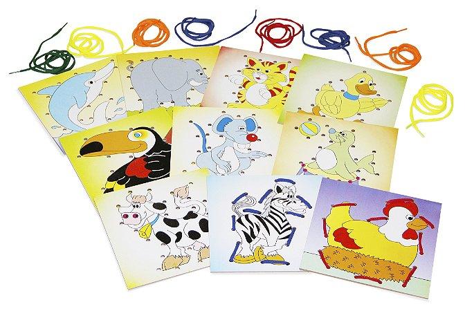 Brinquedo Educativo Alinhavos Animais Em Mdf Com 10 Placas E 10 Cadarsos - CARLU