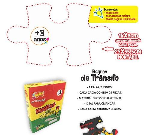 Jogo Educativo Quebra Cabeça Transito Pedestres 24 Peças - Way