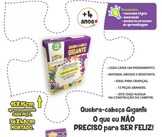 Jogo Educativo Quebra Cabeça Gigante Impaciência 12 Peças- Way