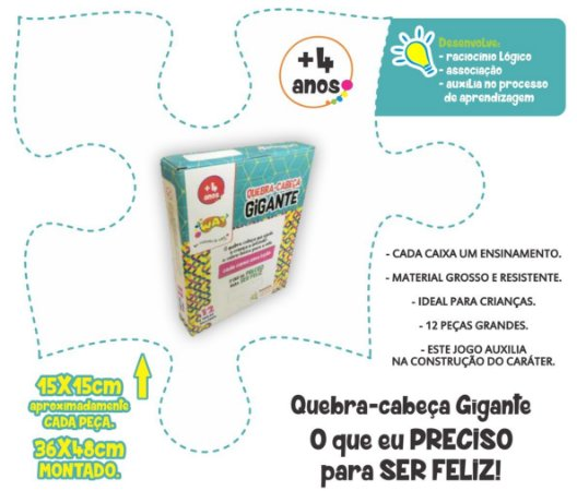 Jogo Educativo Quebra Cabeça Gigante GRATIDÃO 12 Peças- Way