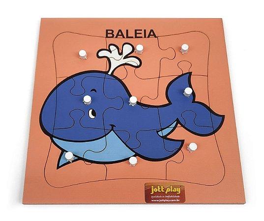 Brinquedo Educativo Quebra Cabeça Com Pinos Baleia 9 Peças - JOTTPLAY