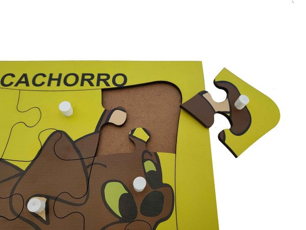 Brinquedo Educativo Quebra Cabeça Com Pinos Cachorro 9 Peças - JOTTPLAY