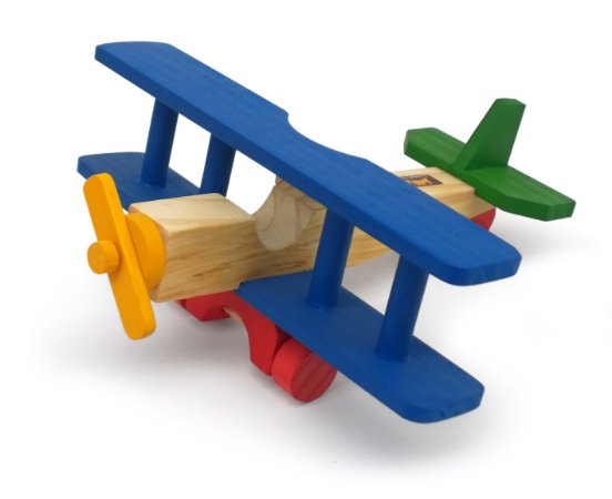 Brinquedo Educativo Aviao De Madeira Bi Plano - JOTTPLAY