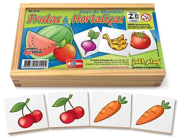 Brinquedo Educativo Jogo De Memória Frutas E Hortaliças 40 Peças - JOTTPLAY