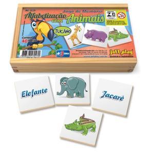Brinquedo Educativo Jogo De Memória Alfabetização Com Animais 40 Peças - JOTTPLAY