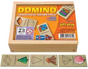 Brinquedo Educativo Dominó Associação Geométrica 28 Peças - JOTTPLAY