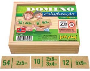 Brinquedo Educativo Dominó De Multiplicação 28 Peças - JOTTPLAY