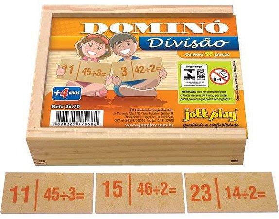 Brinquedo Educativo Dominó De Divisão 28 Peças - JOTTPLAY
