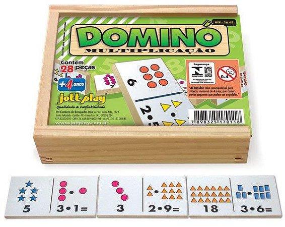 Brinquedo Educativo Dominó Multiplicação 28 Peças - JOTTPLAY