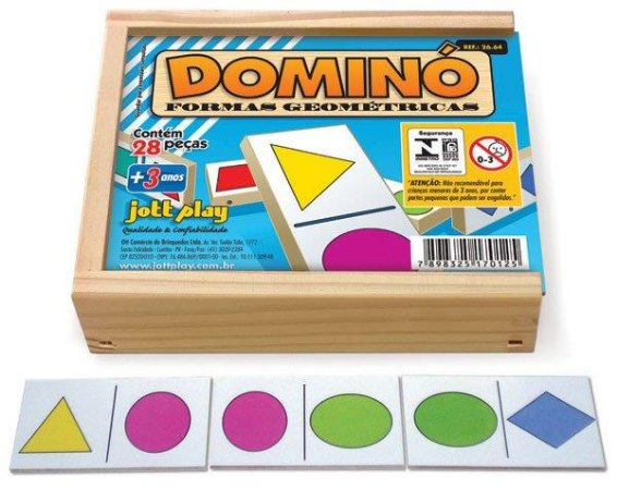 Brinquedo Educativo Dominó Formas Geométricas 28 Peças - JOTTPLAY