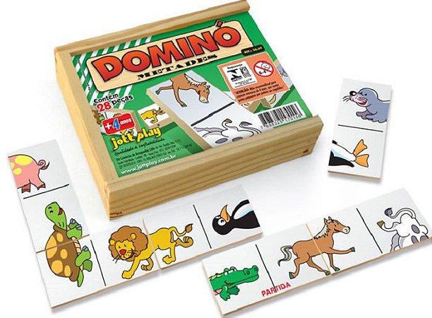 Brinquedo Educativo Dominó Metades 28 Peças - JOTTPLAY