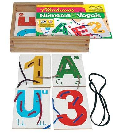 Brinquedo Educativo Alinhavos Números E Vogais Com 15 Placas - JOTTPLAY