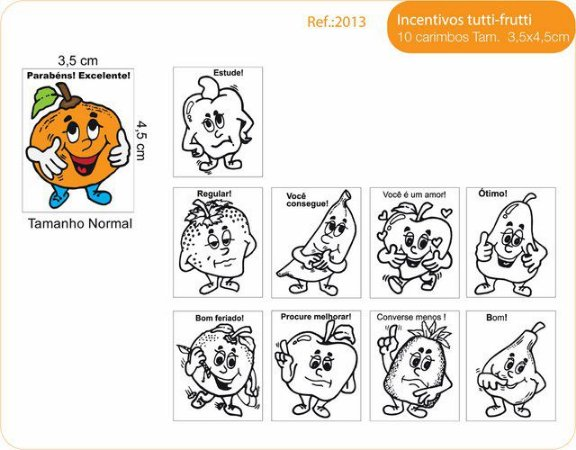 Carimbos Pedagógicos Psico Avaliação Modelo Tutti Frutti - Fundamental
