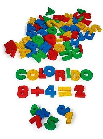 Alfanúmeros Coloridos em Madeira 56 Peças - Alfabeto e Números