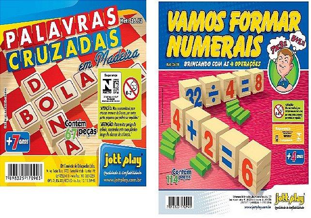 2 EM 1 - Vamos Formar  Numerais + Palavras Cruzadas -181 Peças - Jottplay