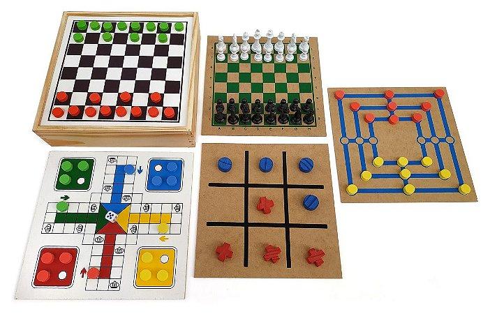 Jogo 5 em 1 caixa de madeira 26x26x6cm