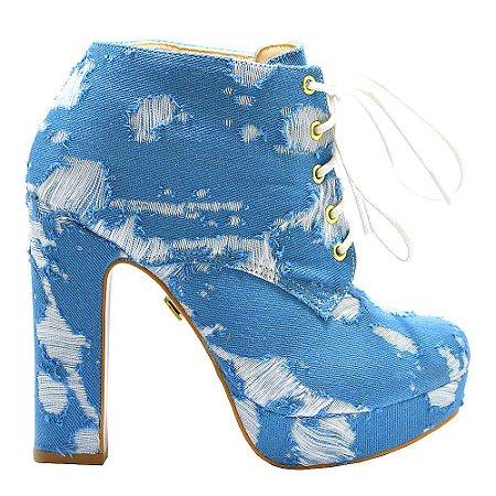 Coturno ''Brooke'' em Jeans Rasgado Azul by DRSKA