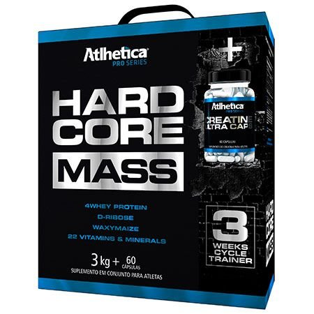 HARDCORE MASS W/CREATINE ULTRA CAPS - 3kg + 60 cápsulas - Atlhetica