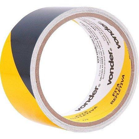 Fita Zebrada Adesiva Refletiva 50mmx3m Amarela E Preta - Vonder