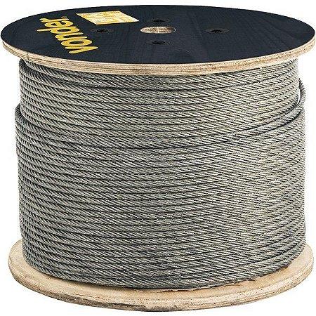 "Cabo de aço galvanizado, alma de fibra, 4,8 mm 3/16"", 6 x 7 metro - Vonder"