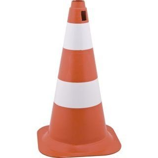 Cone de Sinalização 75cm Laranja e branco - Plastcor