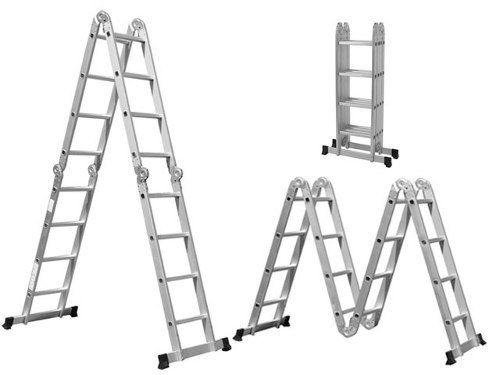 Escada Alumínio Multifuncional 4/4 Degraus 8 Em 1 - Worker