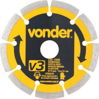 Disco De Corte Diamantado 110 Mm Segmentado V3 - Vonder