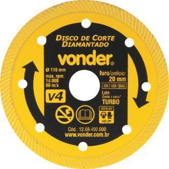 Disco De Corte Diamantado 110 Mm Turbo V4 - Vonder