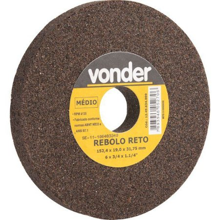Rebolo Reto 6 X 3/4 Médio - Vonder
