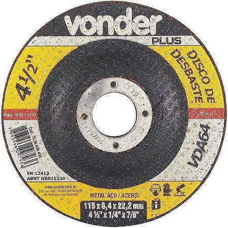 Disco De Desbaste 115mm X 6,4mm X 22,23mm Vda64 - Vonder
