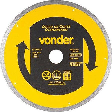 Disco De Corte Diamantado 200 Mm P/ Porcelanato - Vonder