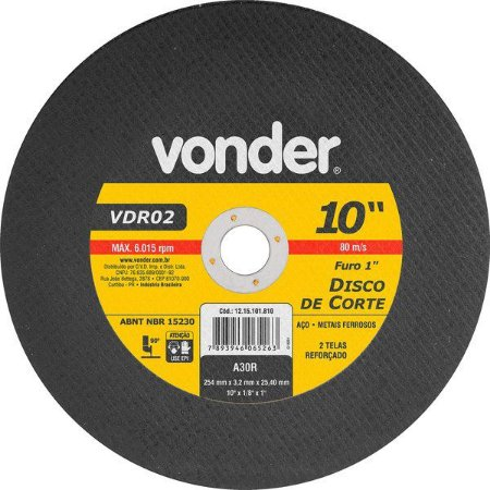 Disco De Corte 254 Mm X 3,2 Mm X 25,40 Mm Vdr02 - Vonder