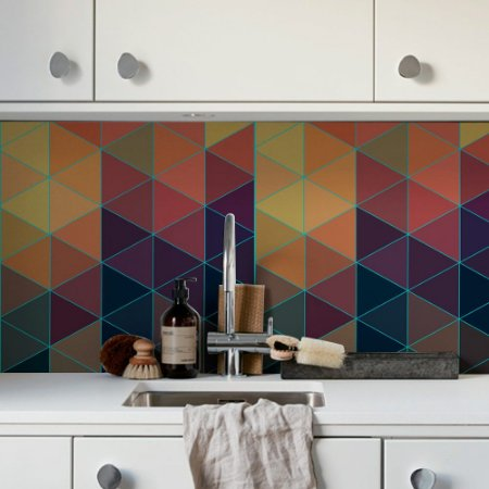 Adesivo de azulejo triângulo colorido