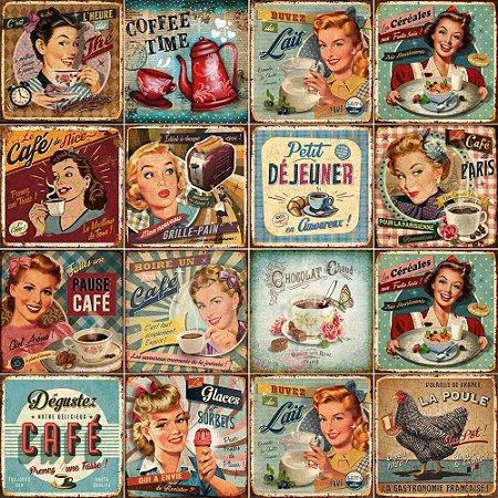 Adesivo de azulejo vintage café