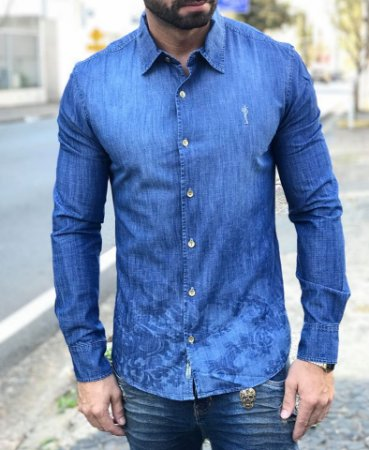 Camisa Social Jeans Arabesco - Zip Off - Imperium Store - Shopping ... 0c45166b44f