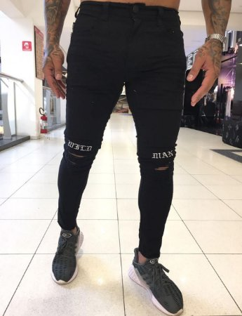 Calça Black Skinny Wild Man Destroyed - Degrant
