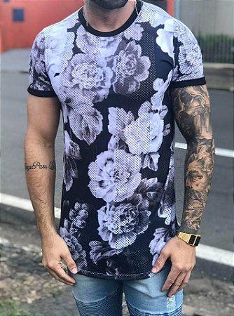 Camiseta Longline Flores Dry - Evoque