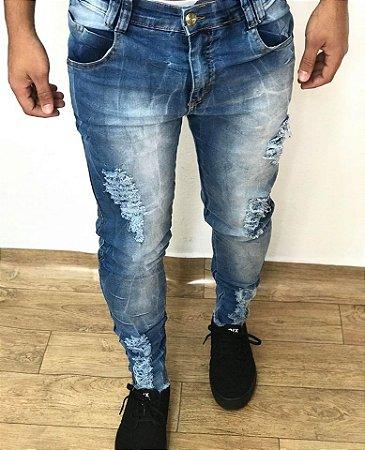 Calça Jeans Destroyed Barra Desfiada - Titular Jeans
