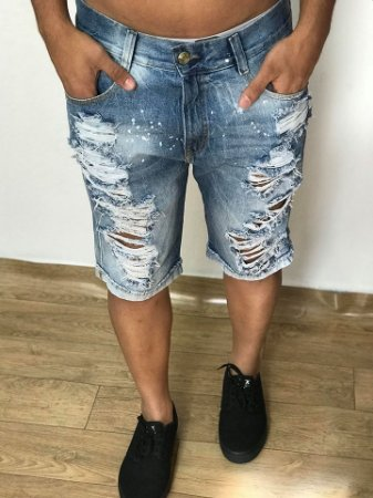Bermuda Jeans Destroyed Respingos - Titular Jeans