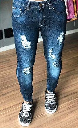 Calça Jeans Skinny Destroyed - Zip Off
