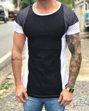 Camiseta Longline Black and White C/Renda - Riviera Clothing