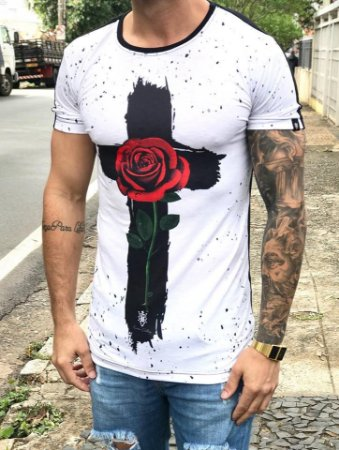 Camiseta Longline Cruz Flower - Riviera Clothing