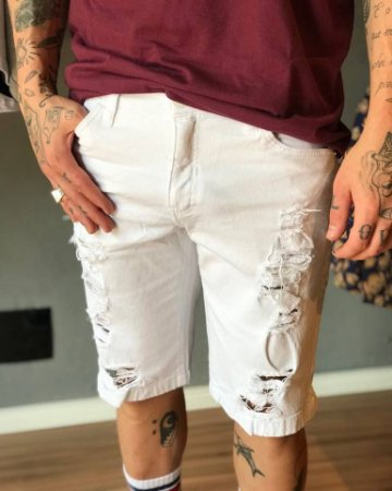 Bermuda Jeans White Destroyed - Austin Club