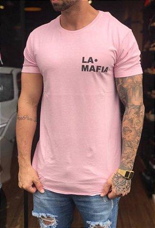 Camiseta Longline Skull Rosa - La Mafia