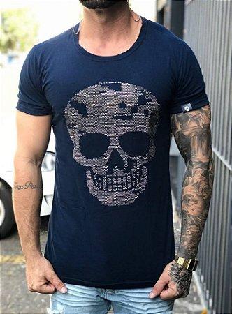 Camiseta Longline Caveira Strass - John Jones