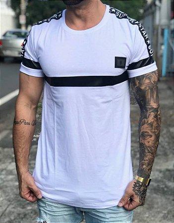 Camiseta Longline White Faixas - Riviera Clothing