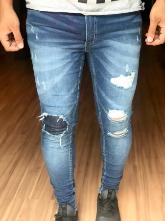 Calça Jeans Skinny Destroyed com Forro - Creed Jeans