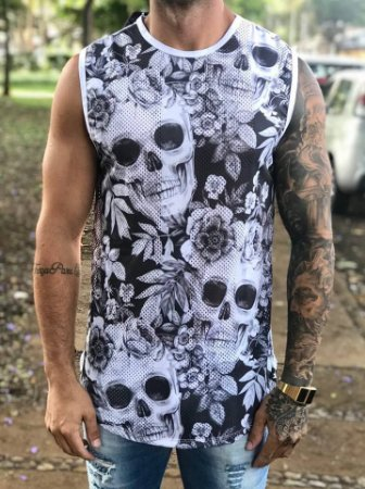 Regata Longline Skull Flowers Dry Fit - Evoque