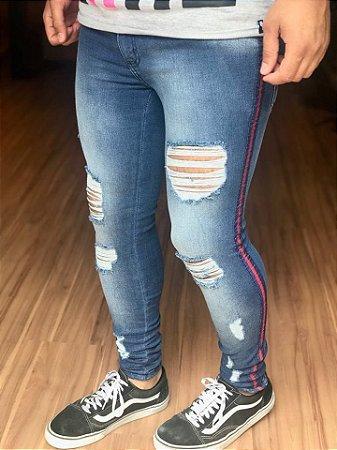 Calça Jeans Destroyed Skinny Com Faixa - Creed Jeans